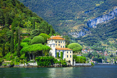Romantic Lago di Como, villa del Balbianello. Scenic lake Lago di Como , north of Italy royalty free stock photography