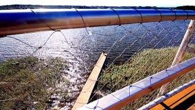 Romantic lake view from bridge with couple. Zarasai stock footage