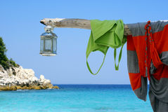Romantic lamp at the beach. On Thassos island, Greece royalty free stock photo