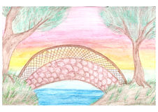 Romantic landscape with bridge drawn by watercolor pencils Royalty Free Stock Images
