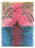 Romantic landscape, fisherman catches fish, drawn. Romantic landscape, sunset and fisherman catches fish in boat, trees bend over sea, seagulls soar in sunset Stock Images