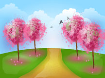 Romantic landscape with pink trees Stock Photography