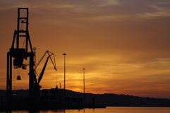 The romantic landscape of seaport in the Golden sunset hour. Royalty Free Stock Photo