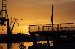 The romantic landscape of seaport in the Golden sunset hour. Royalty Free Stock Photos