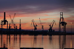 The romantic landscape of seaport in the Golden sunset hour. Stock Images