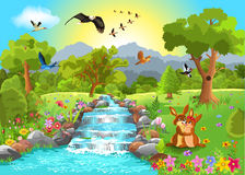 Romantic landscape. Vector illustration of romantic landscape with two bunnies in love and a brook in the middle Stock Image