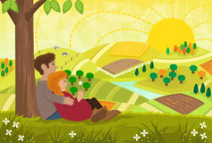 Romantic Landscape. Young couple are sitting under a tree and looking at a beautiful landscape. Eps Royalty Free Stock Images