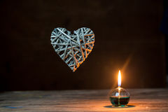 Romantic lantern on lights background Royalty Free Stock Photo