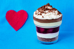Romantic Layered Dessert and Heart Royalty Free Stock Images