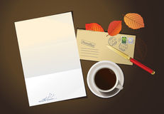Romantic letter and cup of coffee. Royalty Free Stock Images