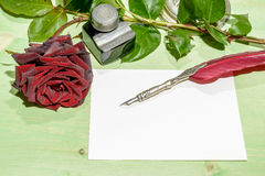Romantic Letter with Red Roses Royalty Free Stock Photos