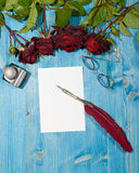 Romantic Letter with Red Roses Stock Images