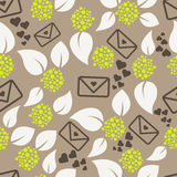 Romantic letters and flowers seamless pattern. Stock Photos