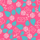 Romantic letters and flowers seamless pattern. Royalty Free Stock Images