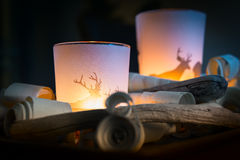 Romantic light of two candles in glass Royalty Free Stock Photo