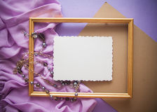 Romantic lilac background with frame,drapery and copy space for. Bright colorful background for designs and greeting cards Royalty Free Stock Image