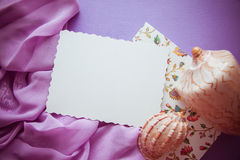 Romantic lilac background with frame,drapery and copy space for. Bright colorful background for designs and greeting cards Stock Photo