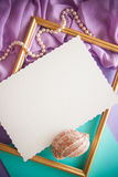Romantic lilac background with frame,drapery and copy space for. Bright colorful background for designs and greeting cards Royalty Free Stock Photos