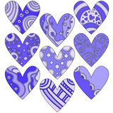 Romantic Lilac Valentine Heart Collection Stock Photo