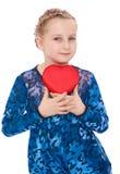 Romantic little girl cuddle heart Stock Images
