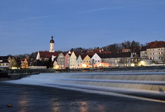 Romantic little town. Warm evening in Landsberg am Lech in front of the river Royalty Free Stock Images