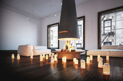 Romantic living room with burning candles Royalty Free Stock Photo