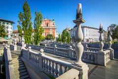 Romantic Ljubljana city center Stock Photography