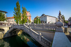 Romantic Ljubljana city center Royalty Free Stock Photo