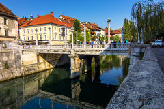 Romantic Ljubljana city center. Slovenia Royalty Free Stock Photos
