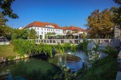 Romantic Ljubljana city center Royalty Free Stock Images