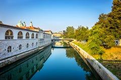 Romantic Ljubljana city center Stock Photos