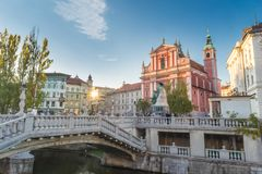 Preseren square and Franciscan Church of the Annunciation, Ljubljana, Slovenia, Europe. Royalty Free Stock Photography