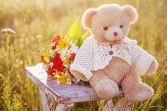 Romantic location with teddy bear Royalty Free Stock Photography