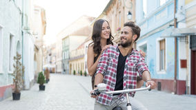 Romantic looking and a bike Stock Photos