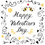 Romantic love banner for Happy Valentines Day with cute hand drawn ornament and bee. Vector love banner. Happy Valentines day card with cute hand drawn lettering Stock Photography