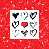 Romantic and love card template. Set of hearts Royalty Free Stock Images