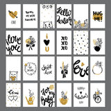 Romantic and love cards collection with lettering.  Stock Image