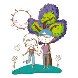 Romantic love couple cute background stock illustration