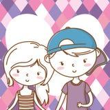 Romantic love couple cute portrait background royalty free illustration
