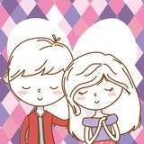 Romantic love couple cute portrait background vector illustration