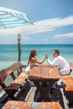 Romantic love couple on the sea Royalty Free Stock Images