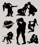 Romantic love couple silhouettes 2 Royalty Free Stock Images