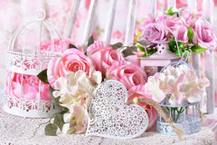 Romantic love decoration with flowers and heart Stock Photography