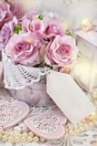 Romantic love decoration in shabby chic style for wedding or val Royalty Free Stock Images
