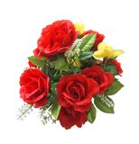 Bouquet of red roses. Artificial Flowers. Romantic love design. Valentine`s Day Concept. Isolated on white background with clipping path Stock Photos