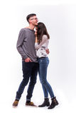 Romantic love hipster couple  hugs at camera. Stock Photos