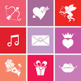Romantic love icons. Set of love icons. Happy Valentine's day Royalty Free Stock Image