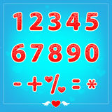 Romantic love illustrations numbers for holidays Stock Photography