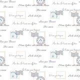 Romantic love letters seamless vector pattern on white. Inscriptions wrap paper design with mail stamps. Romantic love letters seamless vector pattern on white stock illustration