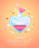 Romantic love potion glass flask retro postcard Royalty Free Stock Photo